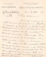 Lettre à En Tête Manuscrite Ville De Paris école Communale Du 4 Octobre 1932 - Manuscrits