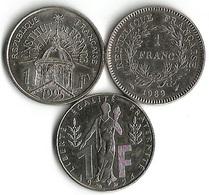 Lot 3 Pièces 1 Franc Commémoratives - France
