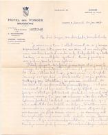 Lettre à En-tête Manuscrite Brasserie Hôtel Des Vosges à Luneville Le 30 Janvier 1937 - Manuscrits