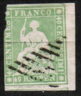 SWITZERLAND  Scott # 29 USED FAULTS IMPERFORATE (Stamp Scan # 421) - 1854-1862 Helvetia (Imperforates)