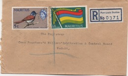 ILE MAURICE  RECOMMANDE  BUREAU  PORT LOUIS STATION - Maurice (1968-...)