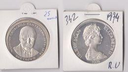"""ONE CROWN - CENTENARY WINSTON CHURCHILL 1874-1974 - ISLE OF MAN ELISABETH II - 1971-… : Monnaies Décimales"