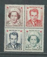 Monaco N° 334A / 37A XX Au Profit De La Croix-Rouge : Les 4 Valeurs En Bloc Sans Charnière TB - Unused Stamps