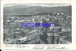 101806 LEBANON LIBANO BEYROUTH VIEW PANORAMIC & CHURCH POSTAL POSTCARD - Libano