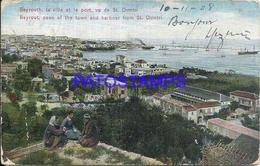 101810 LEBANON LIBANO BEYROUTH SEEN OF THE TOWN AND SHIP FROM ST DIMITRI DAMAGED POSTAL POSTCARD - Libano