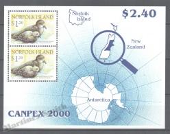 Norfolk Island 2000 Yvert BF 42, CANPEX 2000, Providence Petrel, Bird - Miniature Sheet - MNH - Norfolk Eiland