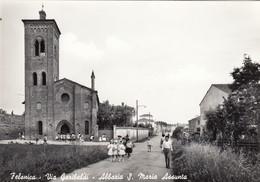FELONICA-MANTOVA-VIA GARIBALDI-ABBAZIA SANTA MARIA ASSUNTA-CARTOLINA VERA FOTOGRAFIA NON  VIAGGIATA ANNO 1955-1960 - Mantova