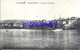 101820 LEBANON LIBANO BEYROUTH SYRIA BAY ST ANDRE & SHIP POSTAL POSTCARD - Libano