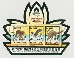 Sierra Leone 2018 Mi. Bl. ? Foil Wildlife Of Macau Faune Fauna Monkey Singe Héron Vogel Oiseau Bird - Sierra Leone (1961-...)