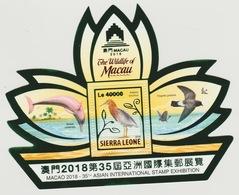 Sierra Leone 2018 Mi. Bl. ? Foil Wildlife Of Macau Faune Fauna Dolphin Dauphin Birds Oiseaux Vögel - Sierra Leone (1961-...)