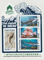 S. Tome Principe 2018 Mi. Bl. ? Foil Marine Life Macau Faune Fauna Requin Haifisch Shark Fishes Poissons Fische - Sao Tome Et Principe