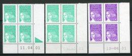 9240  FRANCE N°3445,3446 ** 0.05€ Vert-émeraude Et 0.10€ Violet-rouge  Marianne De Luquet    R.E  2001  TTB - 2000-2009