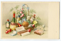CPA FLEURS Composition De Table - Fruits - Bouteilles - Fantaisies