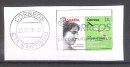 España 2018 - 1 Sello Usado Y Circulado Con Fragmento-Helen Keller -Espagne Spain Spanien Spagna - 1931-Today: 2nd Rep - ... Juan Carlos I