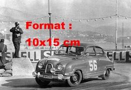 Reproduction D'une Photographie Ancienne D'une Automobile N°56 Participant Au Rallye De Monte Carlo De 1966 - Repro's
