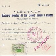 FRANC-MAÇONNERIE - MASONIC - Reçu De Paiement Cotisation - 26 Avril 1940 - Loge De Buenos-Aires Argentine + Vignette - Freemasonry