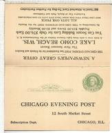 ESTADOS UNIDOS USA 1926 ENTERO POSTAL CHICAGO EVENING POST LAKE COMO - Geología