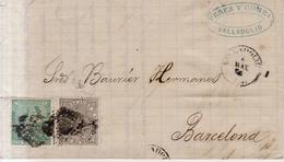 Año 1873 Edifil 133    10c Alegoria  Carta  Matasellos Rombo  Valladolid - Briefe U. Dokumente