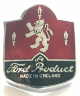"Plaque Ancienne De Calandre En émaux ""A Ford Product Made In England"". Années 50 Ford Consul, Zephyr ... - Voitures"