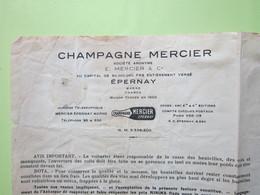 Facture Document - (par GARE) CHAMPAGNE MERCIER à EPERNAY (51) Pour Prémery (58) Le 19/05/1943 - France