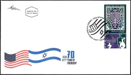 ISRAEL 2018 - Joint Issue With The USA - The Hanukkah Eight-Candles Candelabra - A Stamp With A Tab - FDC - Jewish
