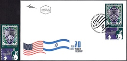 ISRAEL 2018 - Joint Issue With The USA - The Hanukkah Eight-Candles Candelabra - A Stamp With A Tab - MNH & FDC - Jewish