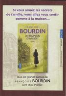 """MARQUE PAGES - Neuf. -  Le Livre  """"UN SOUPCON D'INTERDIT"""" De Françoise BOURDIN  Chez POCKET - Scann Face & Dos - Marque-Pages"""
