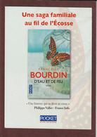 """MARQUE PAGES - Neuf. -  Le Livre  """"D'EAU ET DE FEU"""" De Françoise BOURDIN  Chez POCKET - Scann Face & Dos - Marque-Pages"""