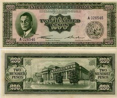 PHILIPPINES       200 Pesos       P-140a       ND (ca. 1950)       UNC - Filippine