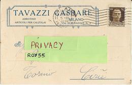 Lombardia Milano Articoli Per Calzolai Arrotino Tavazzi Gaspare Testatina Pubblicitaria Viaggiata Da Milano A Cirie 1935 - Artigianato