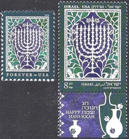 ISRAEL And The USA Joint Issue 2018 - The Hanukkah Eight-Candles Candelabra - Both Stamps - MNH - Jewish