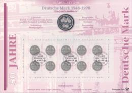 Numisblatt Deutsche Mark 1948 - 1998 Gedenkmünze Zu 5 DM Mit 10er Bogen Der Marke - [10] Commemorations