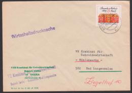Berlin Schloss Köpenik 15 Pf Auf Wirtschaftsdrucksache DDR 1662, Portogenau Aus Bad Langensalza Getreidewirtschaft - DDR