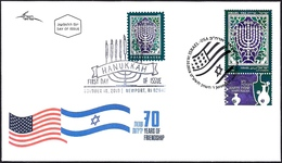 ISRAEL And The USA Joint Issue 2018 - The Hanukkah Eight-Candles Candelabra - Both Stamps - FDC - Jewish