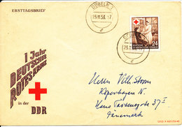 Germany DDR Cover Sent To Denmark Döbeln 23-11-1953 Single Franked RED CROSS - Red Cross