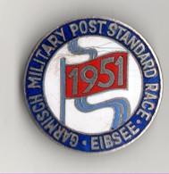 INSIGNE BROCHE GARMISCH MILITARY POST STANDARD RACE EIBSEE 1951 - Army & War