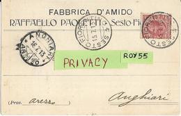 Toscana-firenze-sesto Fiorentino Fabbrica D'amido Paoletti Pubblicitaria Spedita Da Sesto Fiorentino Per Anghiari 1913 - Italia