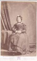 ANTIQUE CDV PHOTOGRAPH -  OLDER LADY SAT AT TABLE. NEWTON STEWART  STUDIO - Photographs