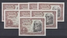 EDIFIL 465a.  1 PTA 22 DE JULIO DE 1953.   LOTE DE 8 BILLETES. - 1-2 Pesetas