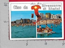 CARTOLINA VG ITALIA - CIAO DA RIVAZZURRA DI RIMINI - Spiaggia Vista Dal Mare - 10 X 15 - ANN. 1992 DIRITTI DELL'INFANZIA - Rimini