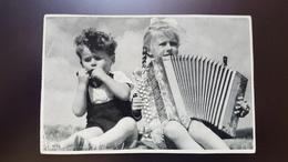 Old German Postcard -   Harmonica - Mundharmonika - Armonica - Accordion - Musique Et Musiciens