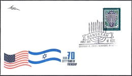 """USA 2018 - Joint Issue With ISRAEL - The Hanukkah Eight-Candles Candelabra - S/adhesive """"Forever"""" Stamp - FDC - Jewish"""