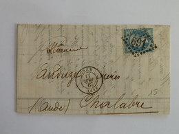 EMPIRE DENTELE 22 SUR LETTRE DE CAEN A CHALABRE DU 17 AVRIL 1867 (GROS CHIFFRE 691) - Marcophilie (Lettres)