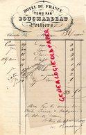 86- POITIERS- RARE FACTURE HOTEL DE FRANCE TENU PAR BOUCHARDEAU- 1880 - France