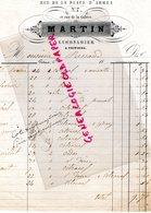 86- POITIERS- RARE FACTURE MARTIN LIMONADIER- 7 RUE DE LA PLACE D' ARMES E RUE DE LA GALERE-  1865 - France