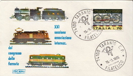 Italy Stamp On FDC - Trains