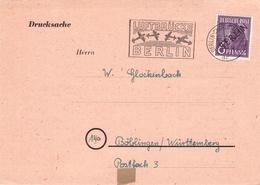 BERLIN/WEST - POSTKARTE/DRUCKSACHE -> BÖBLINGEN Mi #22 - [5] Berlin