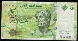 Billet De Banque Banknote 5 Dinars Buste Hannibal Navires Carthaginois - Tunisie