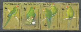Perroquets De L'île Norfolk, Bande De 4 Timbres Neufs **,WWF,  Yv. 413/16. Côte 20,00 Euro; - Parrots