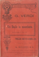 SPARTITO - G. VERDI - UN BALLO IN MASCHERA - Spartiti